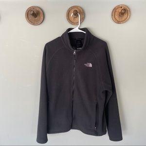 North Face charcoal grey fleece zip up jacket LG